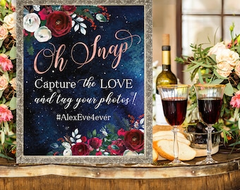 Oh Snap Hashtag Wedding Sign Christmas Winter New Year Snow White Red Burgundy Boho Floral Printable Decor Poster Sign WS-050
