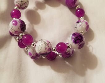 Purple, White, & Silver Wrap Bracelet, Glass beads, Nickel-free Memory Wire. BR14
