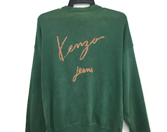 Rare!! Vintage KENZO JEANS Sweater Full Zipper Green Color