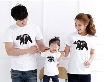 Matching Bear Family Shirts - Choose Mama, Papa or Baby - Onesies and toddler sizes - Black, white and Gray t-shirts available