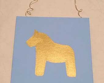 Gold Dala Horse Wall Decor