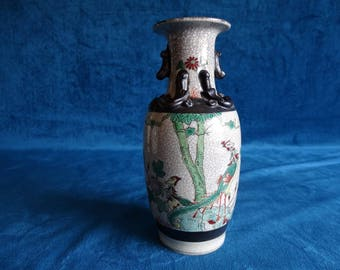 A Chinese porcelain famille verte Crackle vase, Nanking style