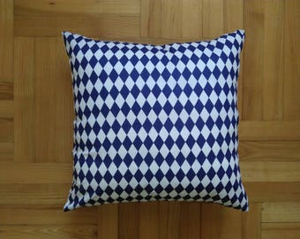 Geometric blue and white cotton pillow cover