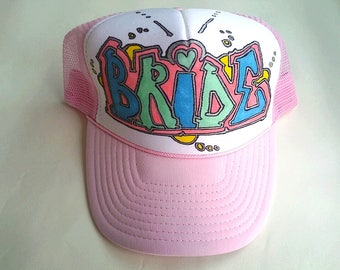 Custom Trucker Hat Caps for Women Bachelorette Bridesmaids Parties Personalized Customized Hand Drawn Painted