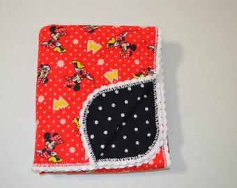 Red and Black Minnie Mouse Baby Blanket