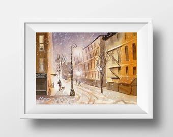 ORIGINAL Watercolor Cityscape Painting Light Street Watercolour Art Winter City Snow landscape decor Ideas Cityscape
