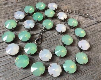 White & Pacific Opal Swarovski Necklace