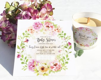 Floral Inspired invitations and give away tags