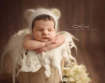 Newborn bonnet, teddy bear bonnet, bear bonnet, bonnet with ears, photography props, Angora bonnet