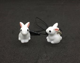 Small Baby Bunny Rabbit Phone Charm Plug