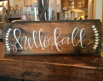 Hello Fall Shiplap Sign