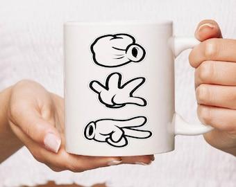 Rock,paper scissors Ceramic Mug Gift Coffee Mug Personalised  funny humour Tea Cup