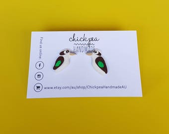Kooky Studs - Kookaburra earrings - handmade from polymer clay
