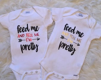 Feed me and tell me I'm pretty onesie in gold/black, baby clothing, infant onesie, custom