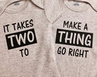 It Takes Two Twins Onesie, Baby Gift, Twin Set, Twins, Baby Shower, Funny Onesie, Infant Clothing