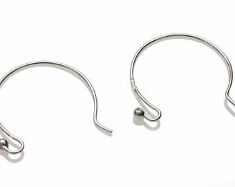 Ear Wires x 1 pair - FSS-012 Euro Style Circle Hooks - Sterling Silver 925 - 2mm ball - 20mm x 25mm - Handcrafted Findings Jewellery Making