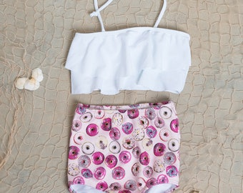 Cute High Waisted Donut Bikini-Two Piece Bathing Suit-White Top with Donut Bottoms