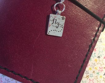 A 'Fly' double sided planner charm / tn travellers notebook charm