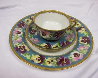 Antique Haviland Porcelain Luncheon Plate Very Rare Pansy Gold Trim Limoges