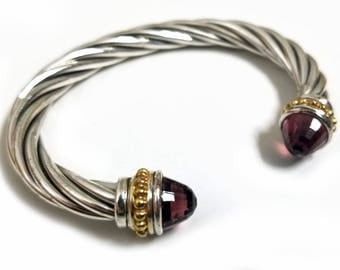 Vintage Sterling Silver Cable Classic Style Amethyst Bracelet