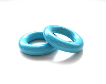 Wooden 35mm Turquoise ring
