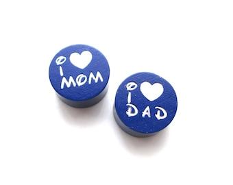 I Love Mom, I Love Dad Glitter Navy wooden bead