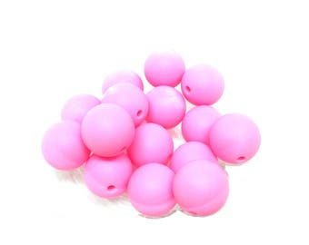 Pink Silicone 15mm - 10 beads