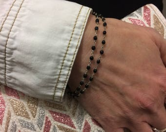 Sterling Silver Dainty Bracelet, Silver Minimalist Bracelet, Silver Gemstone Bracelet, Dainty Bracelet , silver onyx bracelet, gift for her