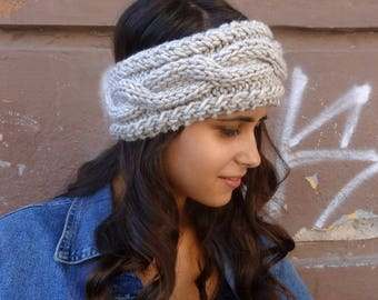 Earwarmer Headband Knit Headband Womens Ear Warmer Hand Knitted Head Band Winter Knit Accessories Gifts for Her Chunky Cable Knit Headband