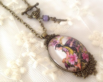 Cameo necklace fairy of lilac flowers.