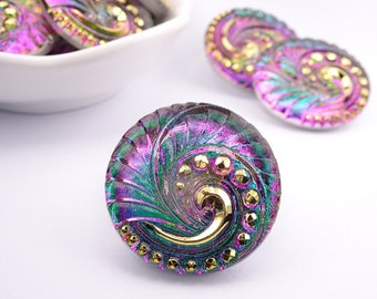 Czech glass knot-peacock feather curl-27mm-green Purple gold-1 piece