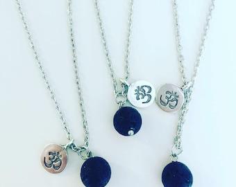 Black Lava Stone & Om Necklace