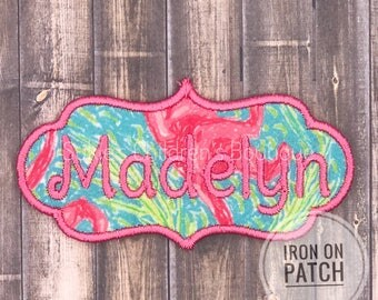 Name iron on patch, name embroidery patch, name embroidery patch, monogram patch sew on,  patch monogram, monogram name patch,