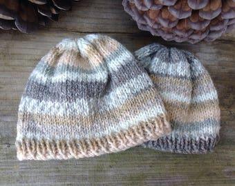 Hand Knitted Blythe Beanie Hat & Scarf - Fair Isle Style