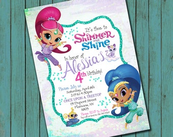 Shimmer and Shine inspired Birthday invitation - high resolution digital file