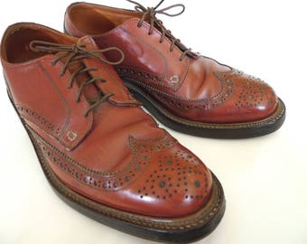 Vintage John McHale BROGUES Wingtips GUNBOATS Leather SHOES 1940s 50s Sz 9 1/2