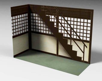 "GD-03-1/12: FIGLot 1/12 Scale Easy Paper-craft Diorama Dojo for 6"" Action figure"