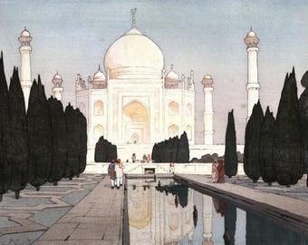 "Japanese Art Print ""Taj Mahal no. 1"" from the India and Southeast Asia Series by Yoshida Hiroshi, woodblock print reproduction, reflection"