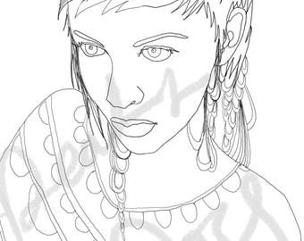 Fashion illustration, portrait, original line art, adult coloring book sheets, printable coloring pages, digital download