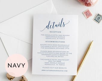 Navy Wedding Details Card Template, Wedding Detail Card Printable, Wedding Details Insert, Wedding Information Card, Wedding Info Card