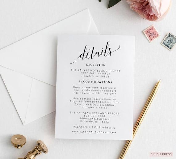 wedding detail card template wedding details card wedding