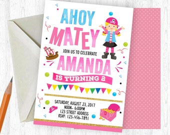 Pirate Birthday Invitation, Pirate Invitation, Pirate Invite, birthday invite, Birthday Party,  Printable Invitation, Pink Pirate