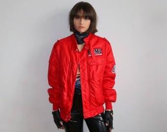 RACING BOMBER JACKET, bomber jacket, nascar jacket, racing jacket, puffer jacket, full zip, cafe racer jacket, puffy coat, red bomber