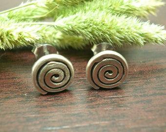 Sterling silver spiral earrings,Stud silver earrings,Greek symbol earrings,everyday earrings,geometric earrings,circle silver earrings