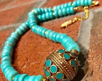 Turquoise & Brass Nepalese bead with turquoise rondelle and brass handmade bohemian artisan necklace.