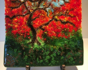 Japanese Maple in Fall - Handmade Fused Glass Panel