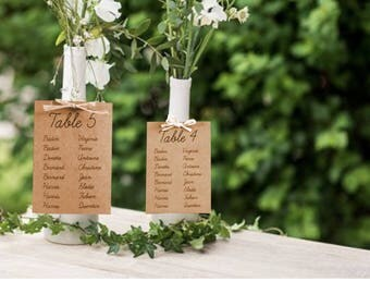 Maxi label plan table wedding, birthday, communion, baptism, raffia and Kraft
