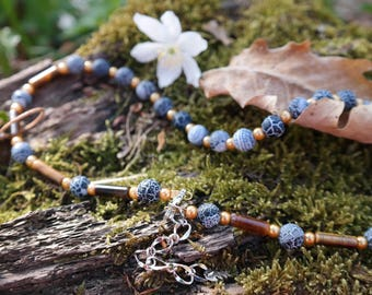 """Necklace with Agate Stones and Tiger's Eye Pearls - Pearl Necklace - Natural Stone Necklace - semiprecious stones - Model """"Dreaming Tigress"""""""