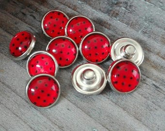 Red snap black dot glass cabochon