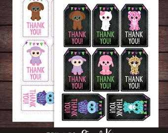 Beanie Boo Thank you Tags, Beanie Boo Birthday Party, Printable, DIGITAL
